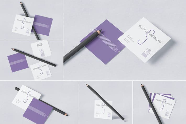 Thumbnail for Square Shaped Business Card Mockups