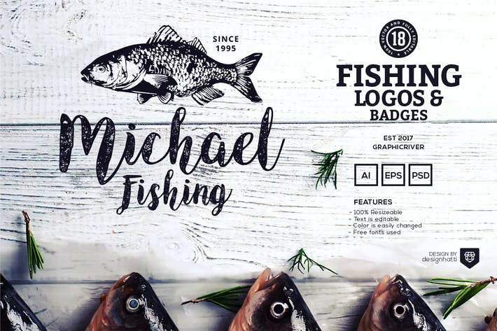 Thumbnail for 18 Fishing Logos and Badges