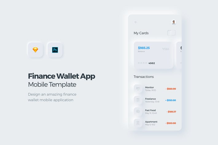 Thumbnail for Finance Wallet Mobile App UI Kit Template 2