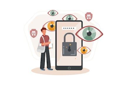 Private Data Protection Illustration Concept