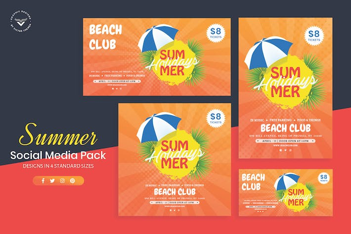 Cover Image For Summer Social Media Template