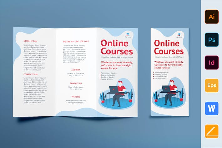 Thumbnail for Online Courses Brochure Trifold