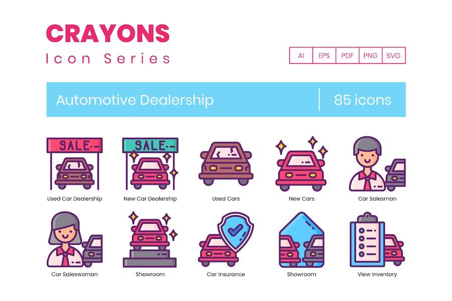 85 Icons für Kfz-Autohäuser - Buntstifte-Serie