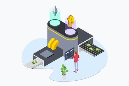 Business Cryptocurrency Isometric