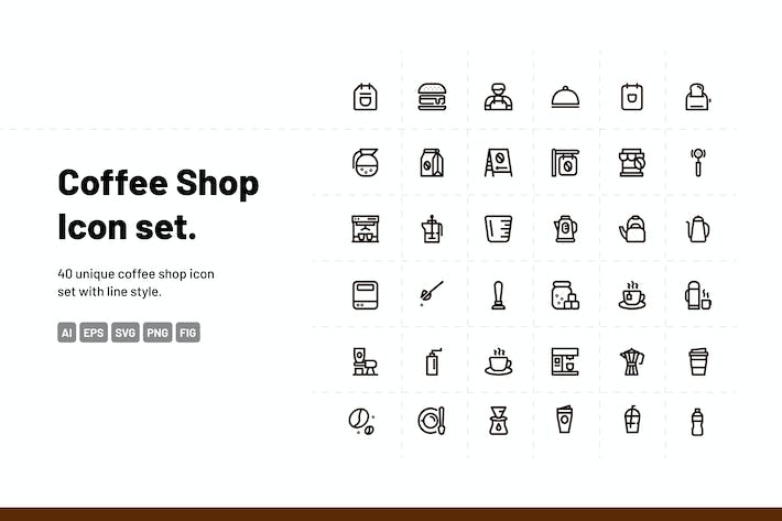 Thumbnail for Coffee Shop Line Icons