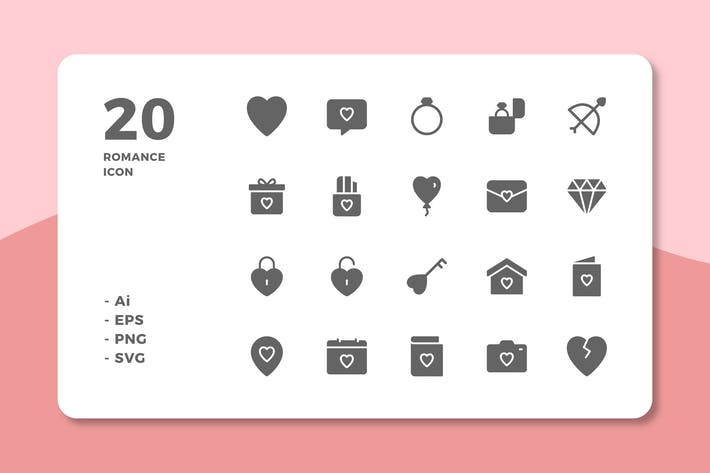 Thumbnail for 20 Romance Icons (Solid)