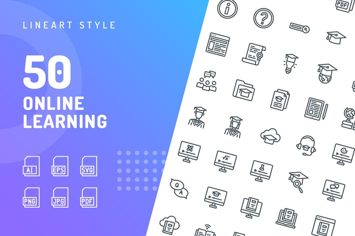 Thumbnail for Online Learning Line Icons