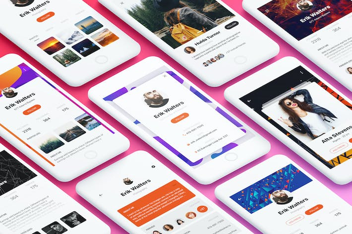Thumbnail for Profile Mobile App UI Kit