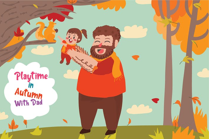 Autumn With Dad - Vector Illustration
