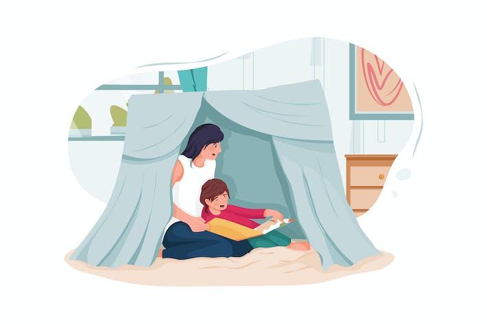 Thumbnail for Няня и маленькие дети читают книгу в палатке