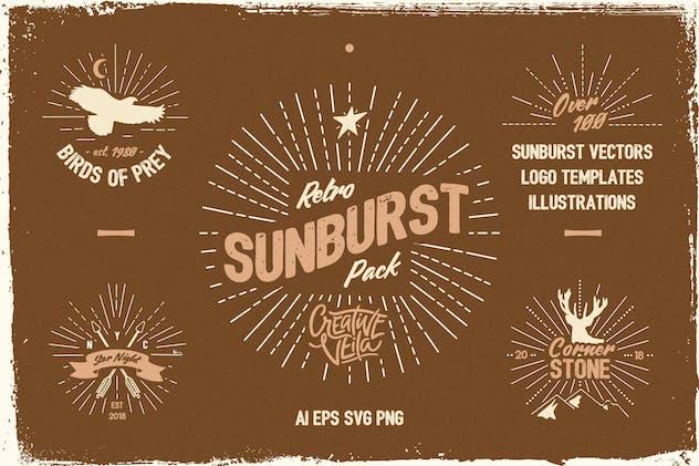 Vintage Glory: Sunburst Vector Set