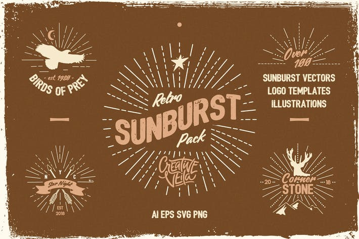 Thumbnail for Vintage Glory: Sunburst Vector Set