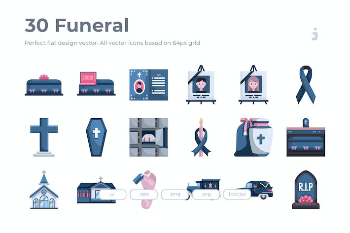 Thumbnail for 30 Funeral Icons - Flat