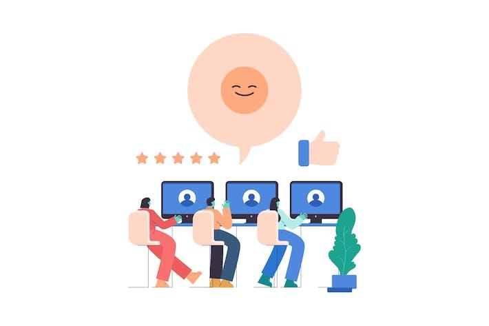 Thumbnail for Customer Service Center Flat Illustration
