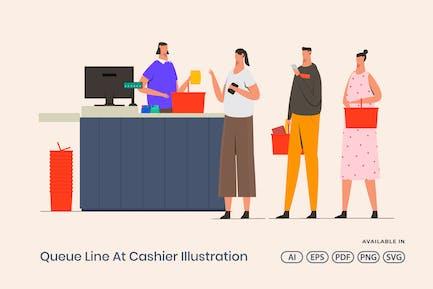 Queue Line At Cashier Illustration