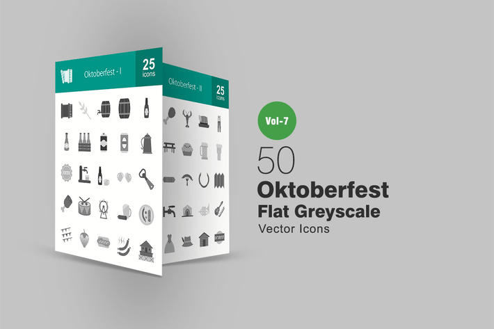 Thumbnail for 50 Oktoberfest Flat Greyscale Icons