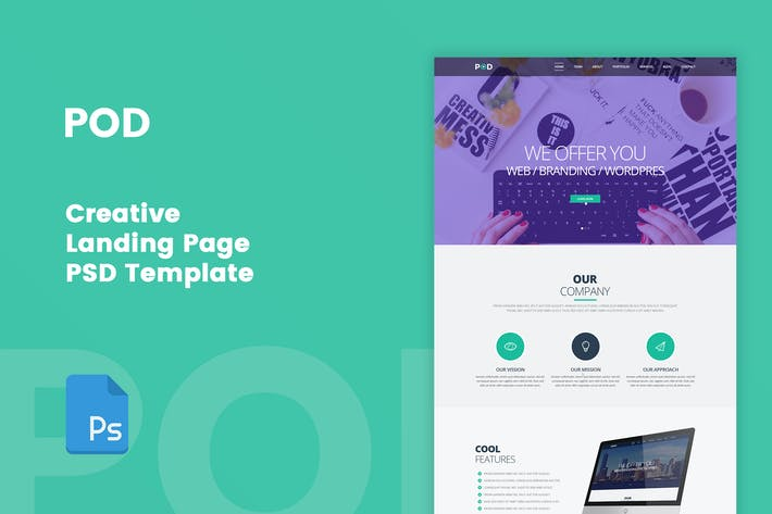 Thumbnail for POD - Творческий целевой страницы PSD Шаблон