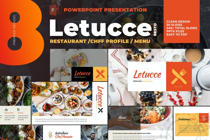 Thumbnail for Letucce Restaurant - Powerpoint Template