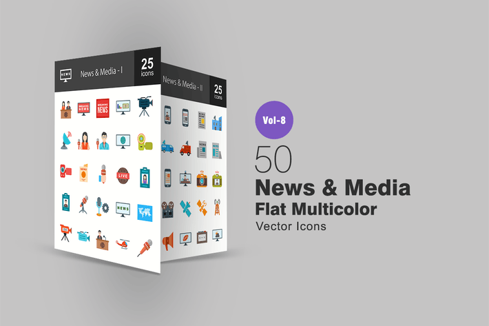 Thumbnail for 50 News & Media Flat Multi-color Icons