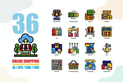 Online Shopping Filled Outline Style Icon set