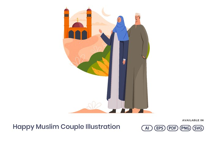 Glückliche muslimische Paar-Abbildung