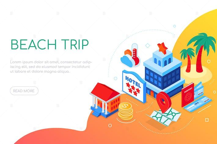 Thumbnail for Beach trip - modern colorful isometric web banner