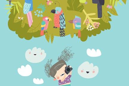 Смешная девушка фотографирует птиц #illustration2020