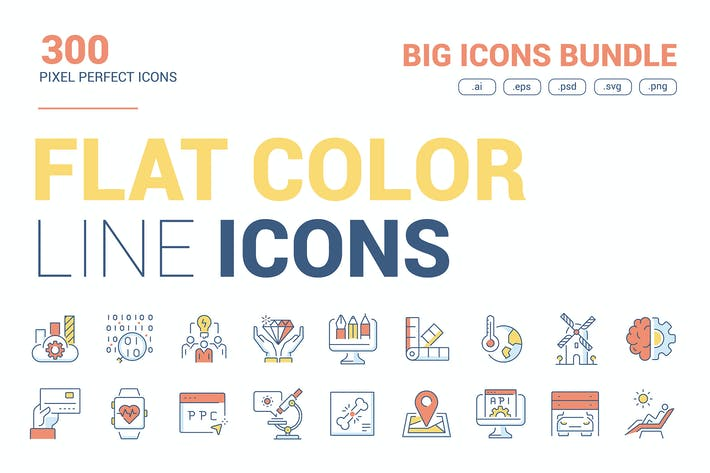 Thumbnail for Большая коллекция цветных Иконки плоской линии
