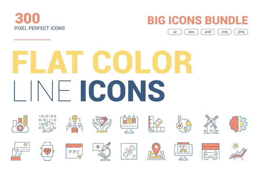 Gran Colleción de Íconos de color de línea plana