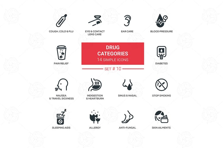 Thumbnail for Drug categories - simple line design icons