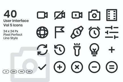 40 User Interface Vol 5 Icons Set - Line