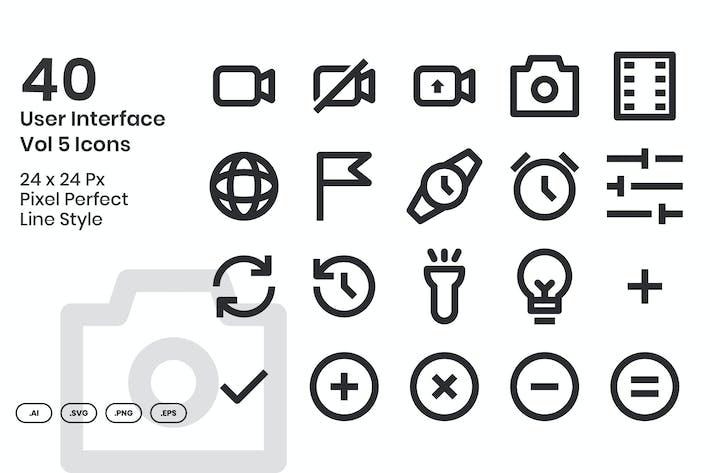 40 Пользовательский интерфейс Vol 5 Набор Иконки к - линия