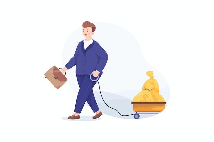 Thumbnail for Glücklicher Geschäftsmann zieht Wagen voller Geld