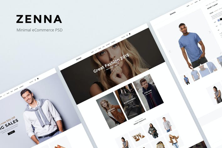 Thumbnail for Zenna - Minimal eCommerce PSD Template
