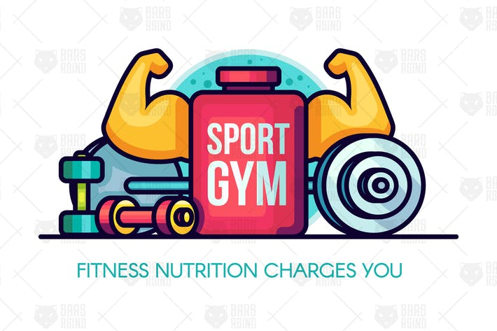 Thumbnail for Sports GYM Nutrition Illustration