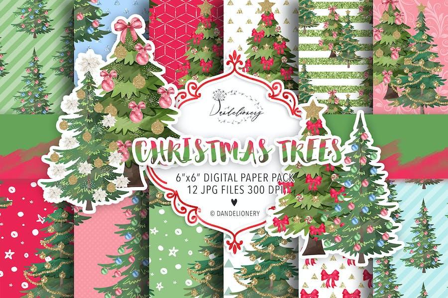 Christmas tree digital paper pack