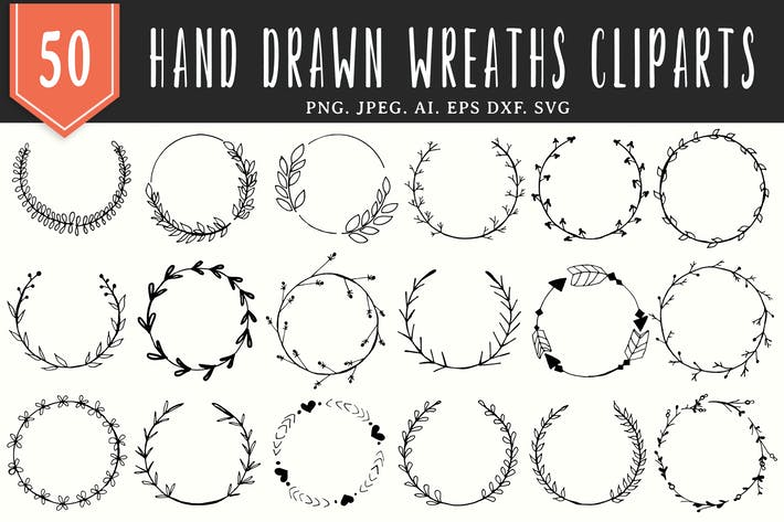 Thumbnail for 50 Handmade Wreaths Cliparts