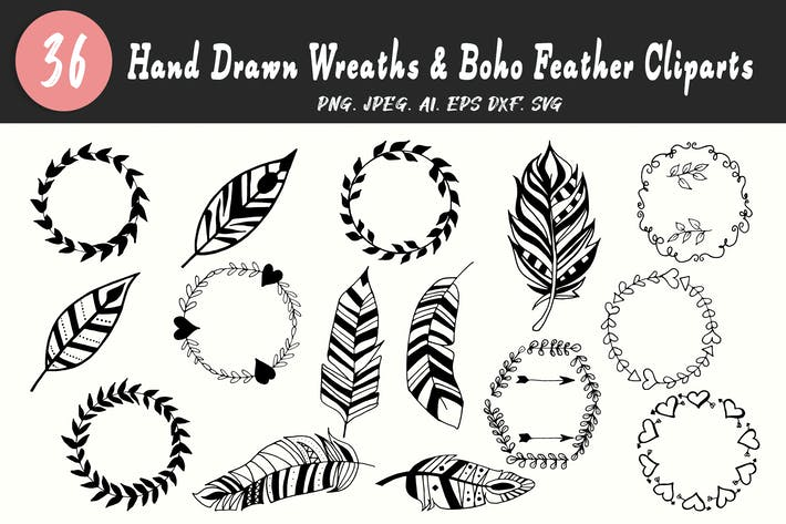 Thumbnail for 30+ Handmade Wreaths & Boho Feather Cliparts