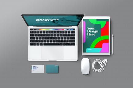 Laptop-Tablet und Zubehör Mockup