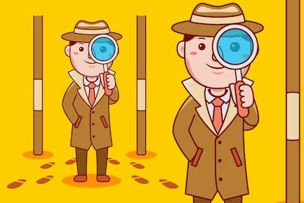 Detective Profession Cartoon Vector