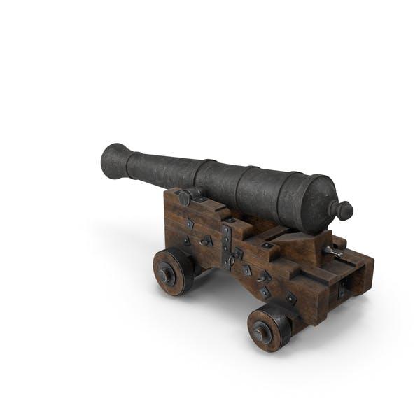 Medieval Gun on Gun Carriage Lowered