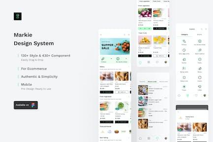 Markie Designsystem - Lebensmittelgeschäft Mobile Ui