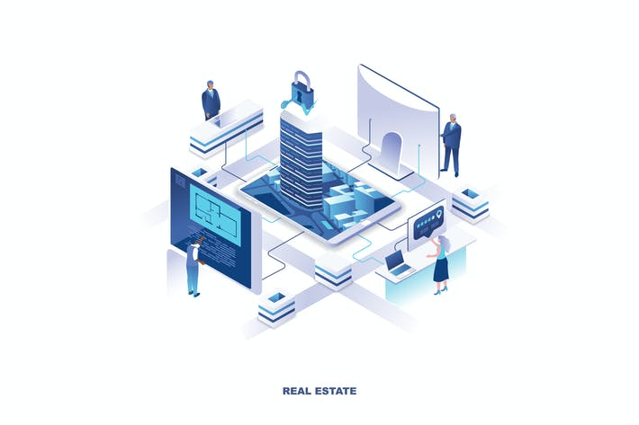 Thumbnail for Real Estate Isometric Banner Flat Concept