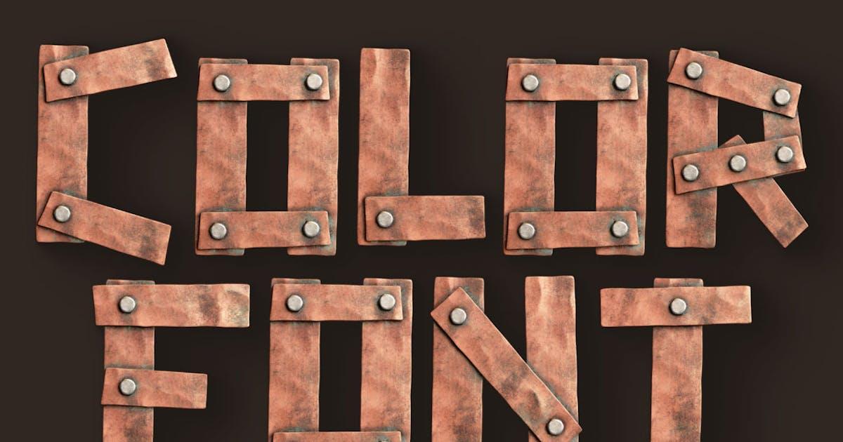 Download Metalic Planks - 3D Color SVG Font by cruzine