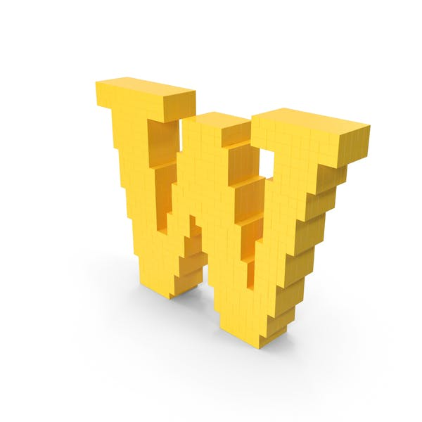 Стилизованный мультфильм Voxel Pixel Art Буква W