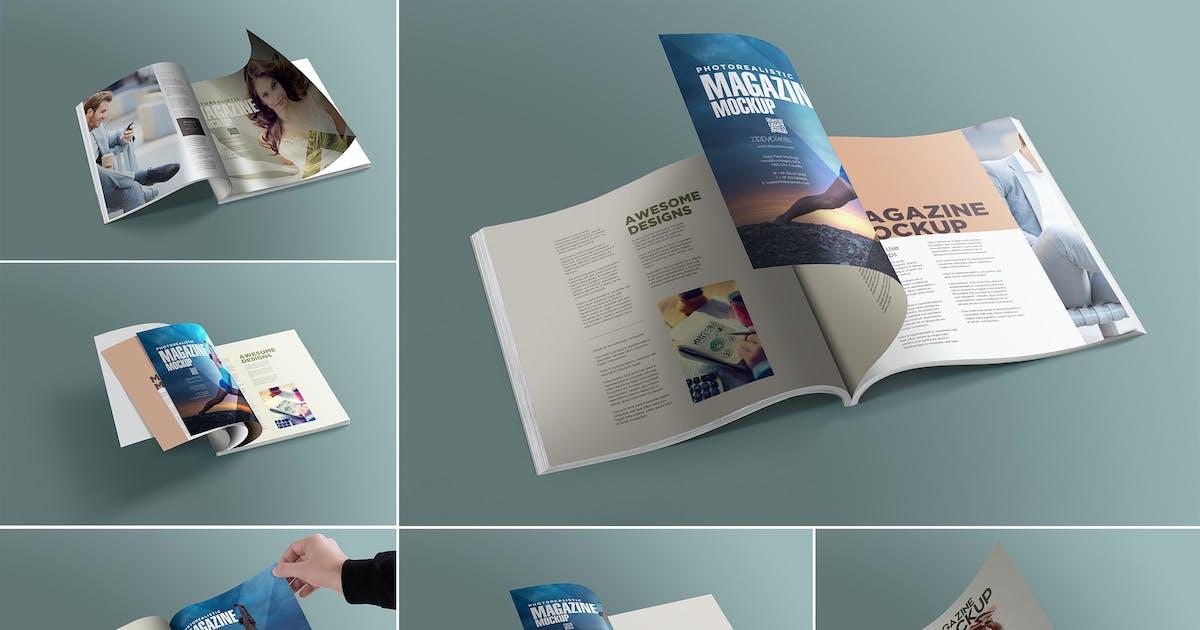 Download Square Magazine Mockups by zippypixels