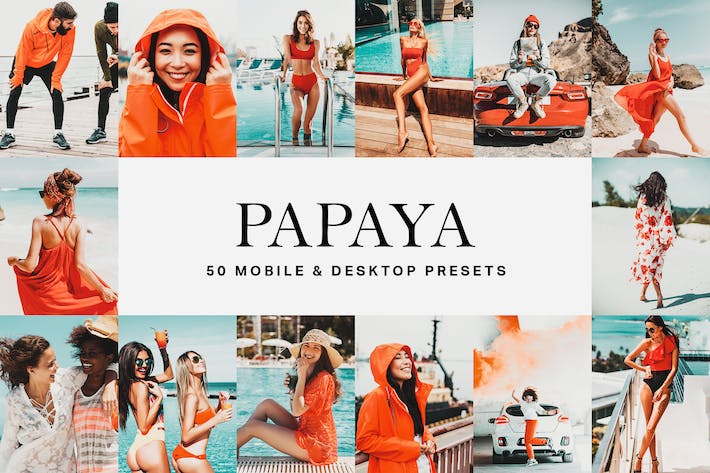 Thumbnail for 50 Papaya Orange Lightroom Presets and LUTs