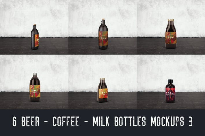 Thumbnail for 6 Beer Coffee Milk Bottles Mockups 3