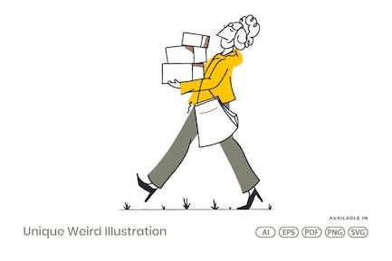 Mädchen tragen Boxen mit Papiertüte auf Hand