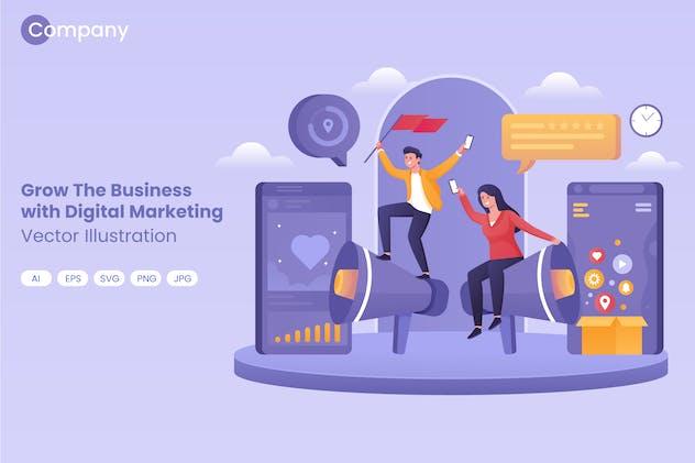 Vector Social Media Marketing Increase Revenue